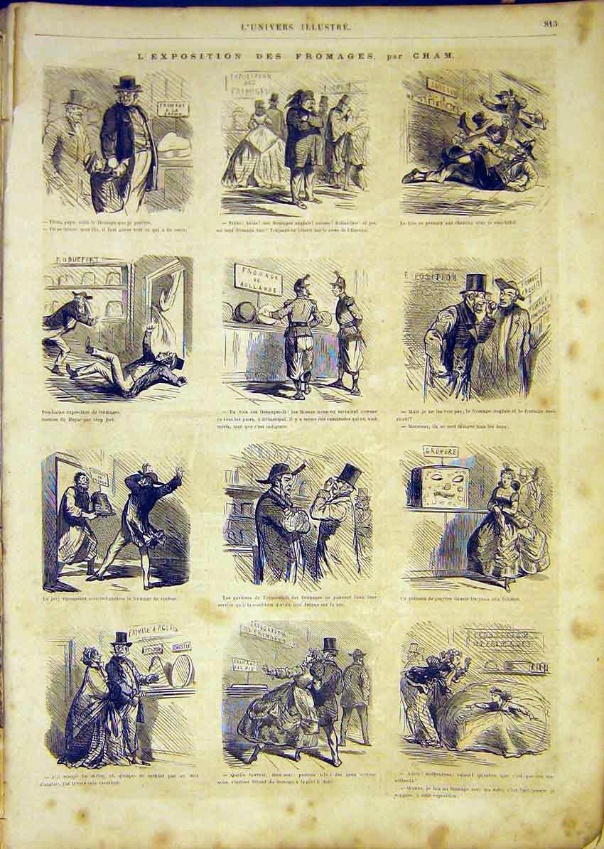 Print Exhibition Cheese Sketches French 1865 13Lun1 Old Original