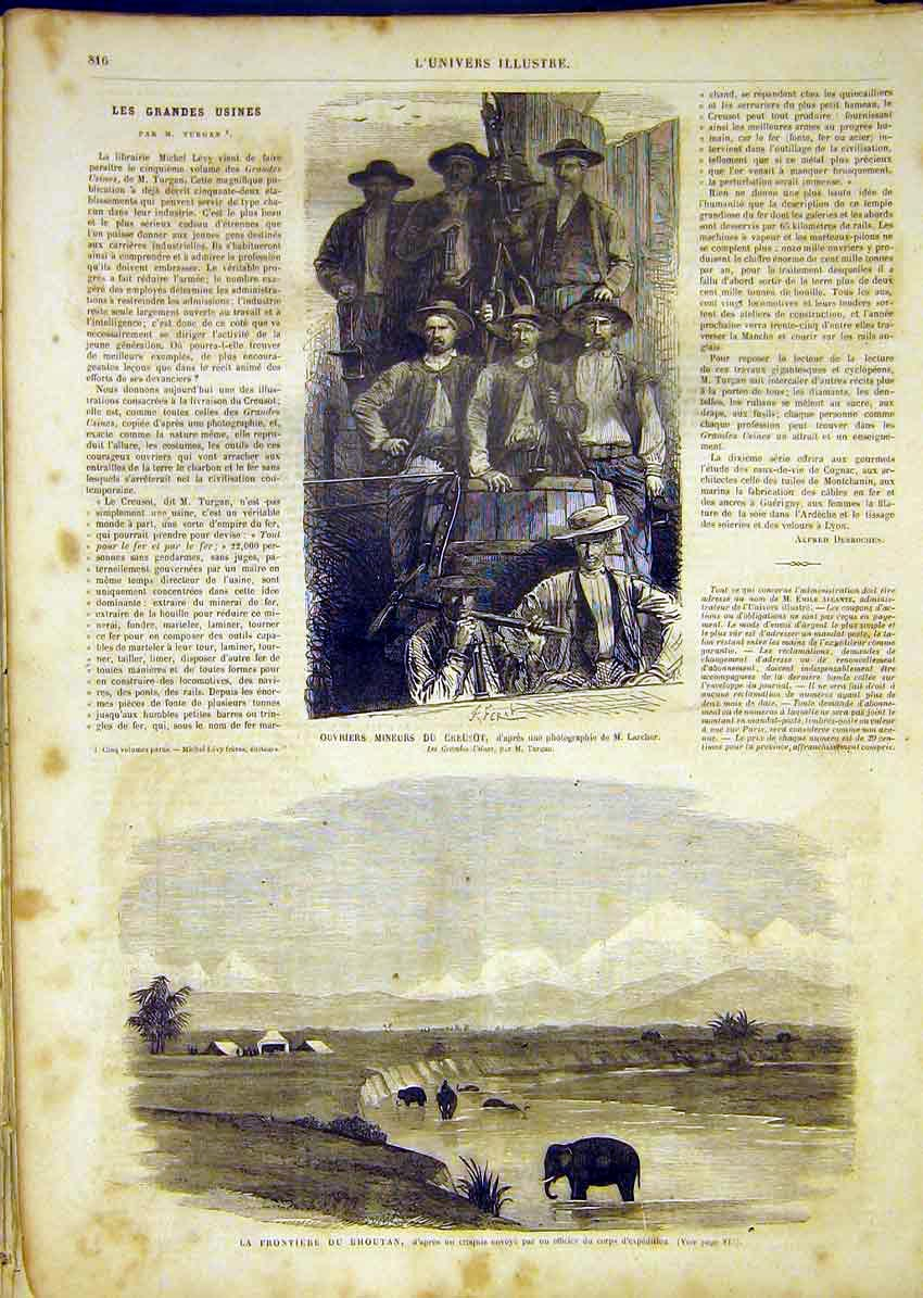 Print Miners Larcher Bhoutan Frontier India French 1865 16Lun1 Old Original