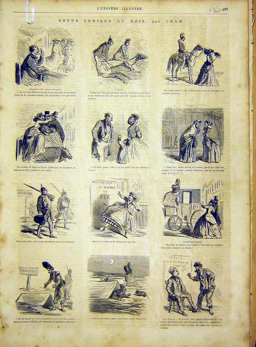 Print Sketches Comic Paris France Cham French 1866 29Alun1 Old Original