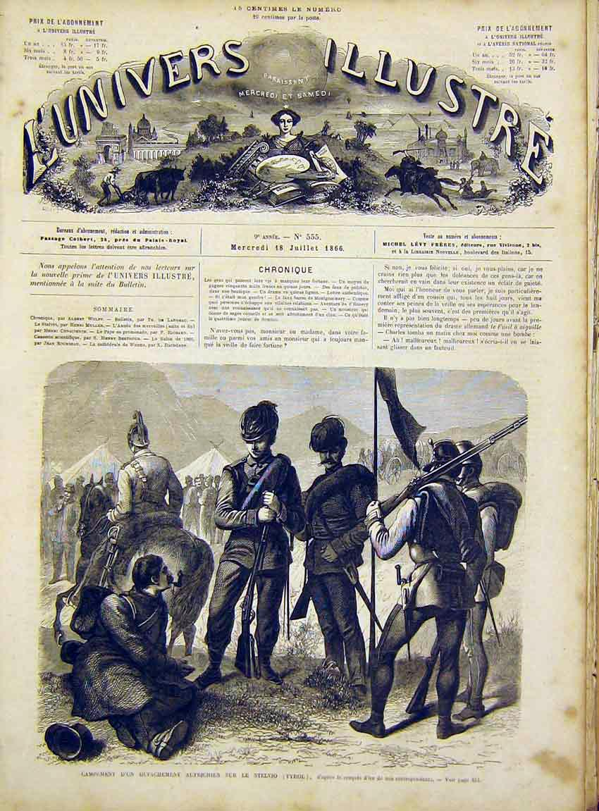 Print Austrian Troops Tyrol Military French 1866 50Lun1 Old Original