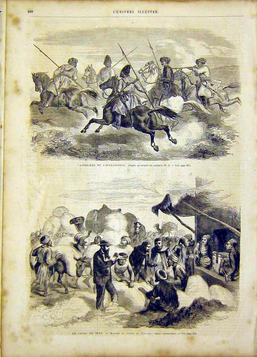 Print Cavalry Afghanistan Military Suez Canal 1866 60Lun1 Old Original