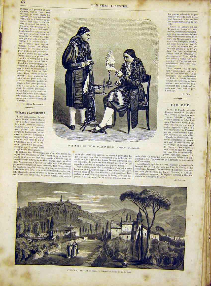 Print Altenbourg Spinning Wheel Florence Fiesole 1866 72Lun1 Old Original