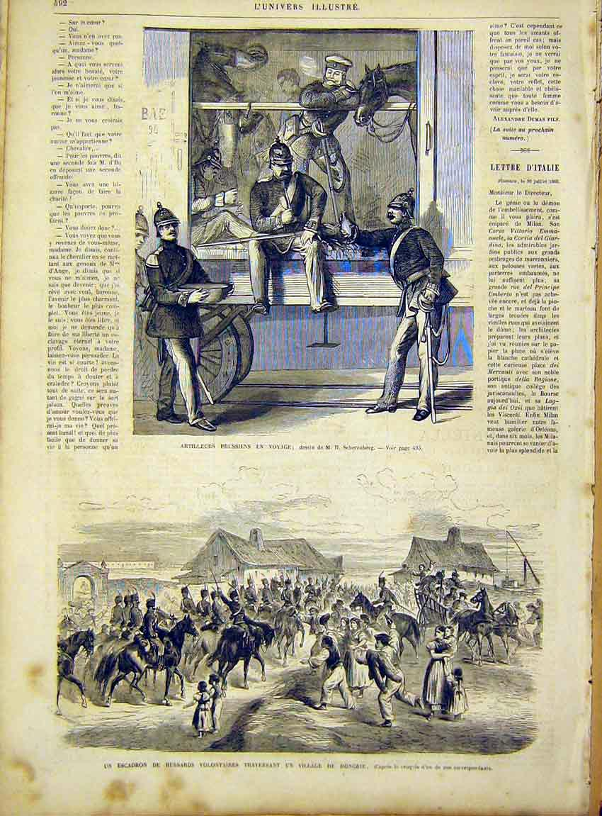 Print Volunteers Hussars Hungary Artillery Prussian 1866 92Lun1 Old Original