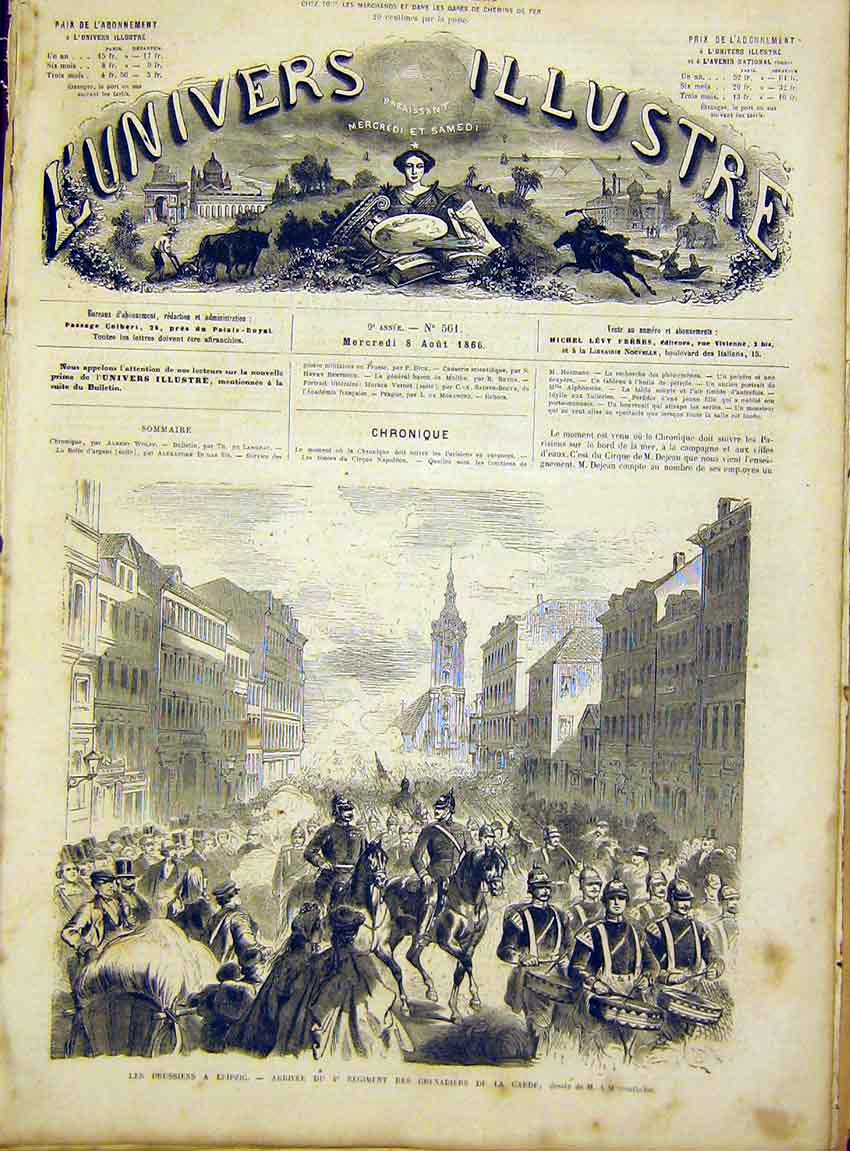 Print Prussian Troops Leipzig Grenadiers French 1866 98Lun1 Old Original