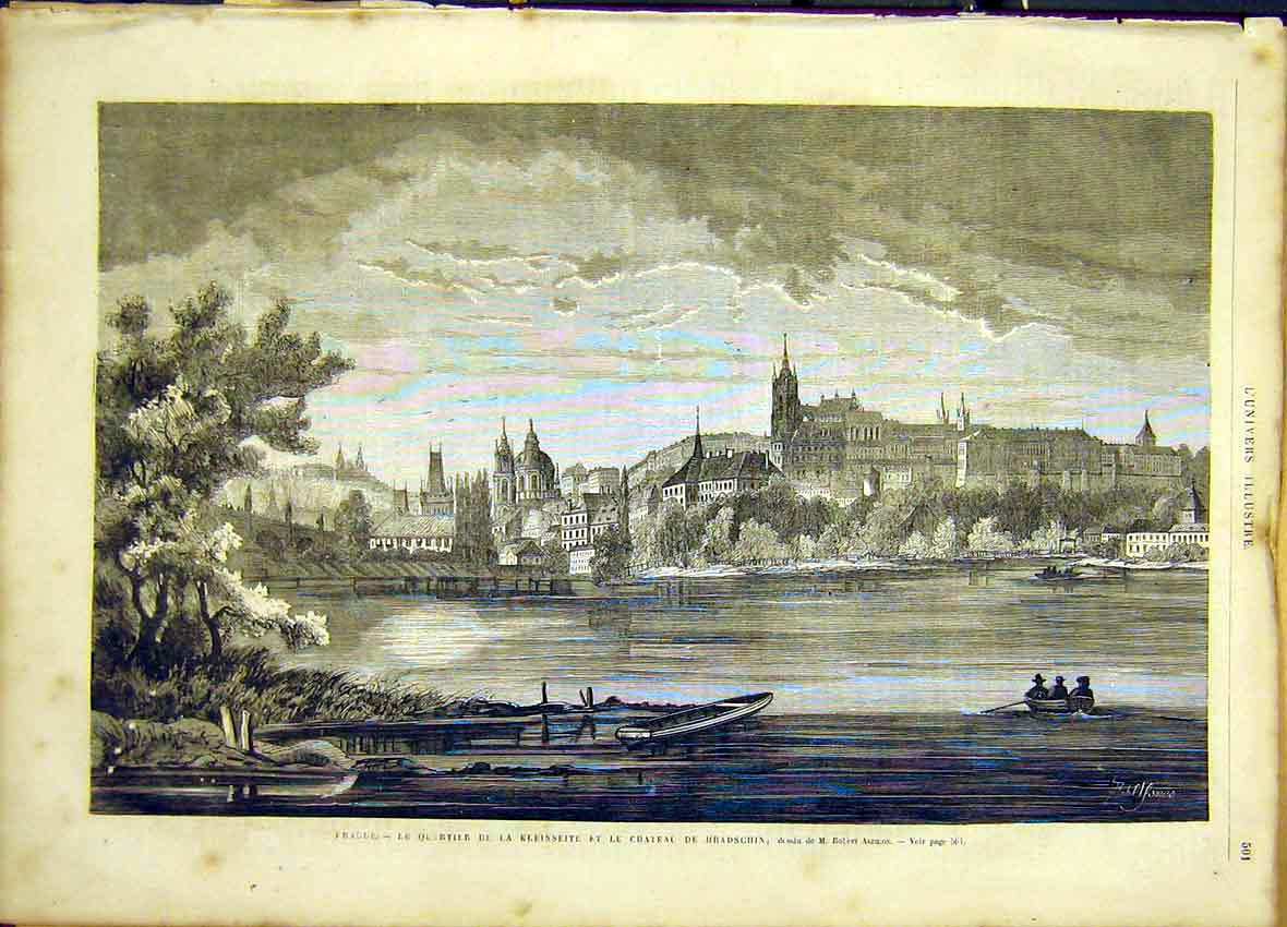 Print Castle Hradschin Aszmus French 1866 Fine Art 01Lun1 Old Original