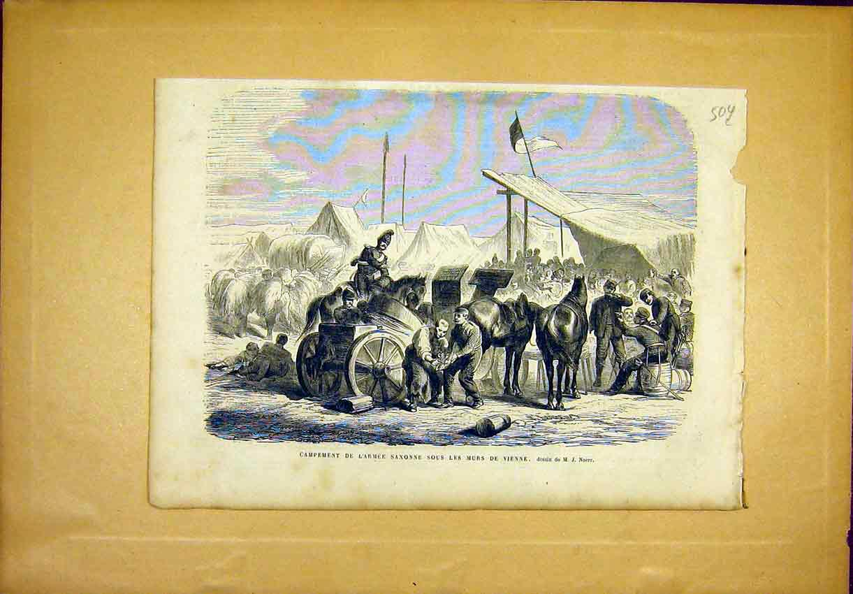 Print Army Camp Saxon Vienna Military French 1866 04Llun1 Old Original