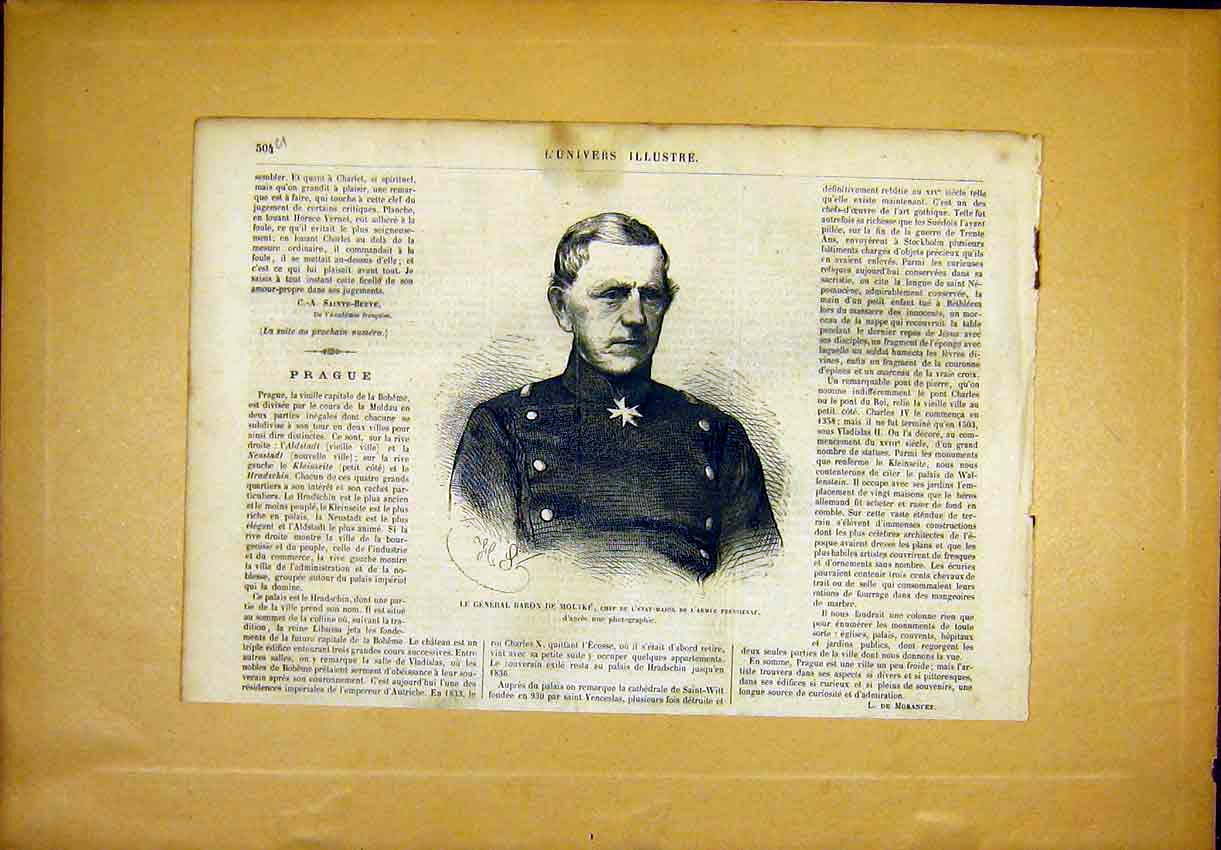 Print Portrait General Baron Moltke Prussia French 1866 04Ulun1 Old Original