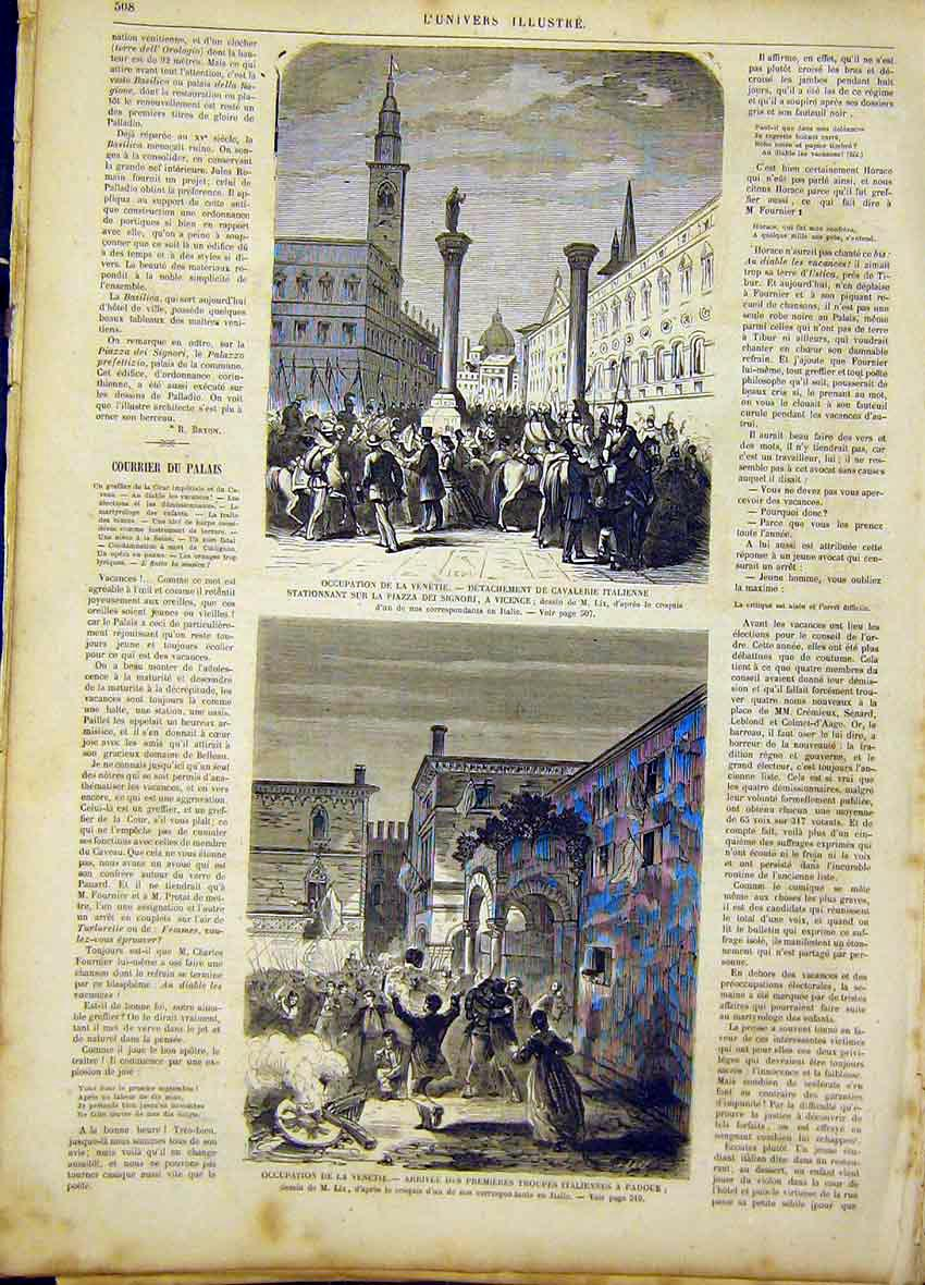 Print Italian Cavalry Venice Troops French 1866 08Lun1 Old Original
