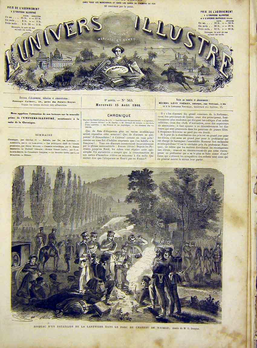 Print Castle Weimar Bivouac Military French 1866 14Lun1 Old Original