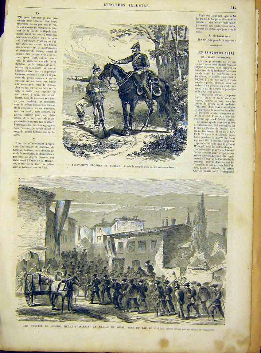 Print Boheme Prussian Medici Ponti Troops French 1866 17Lun1 Old Original