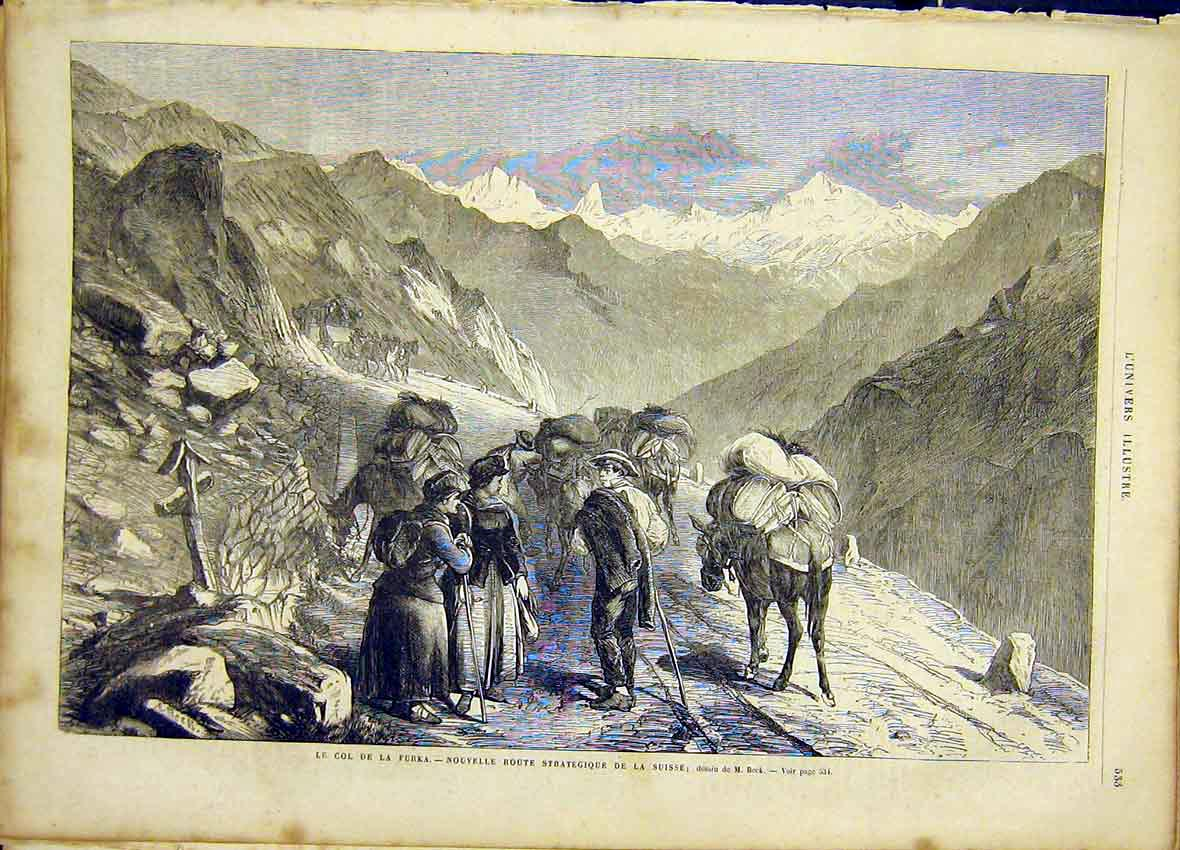 Print Switzerland Furka Mountain French 1866 33Lun1 Old Original