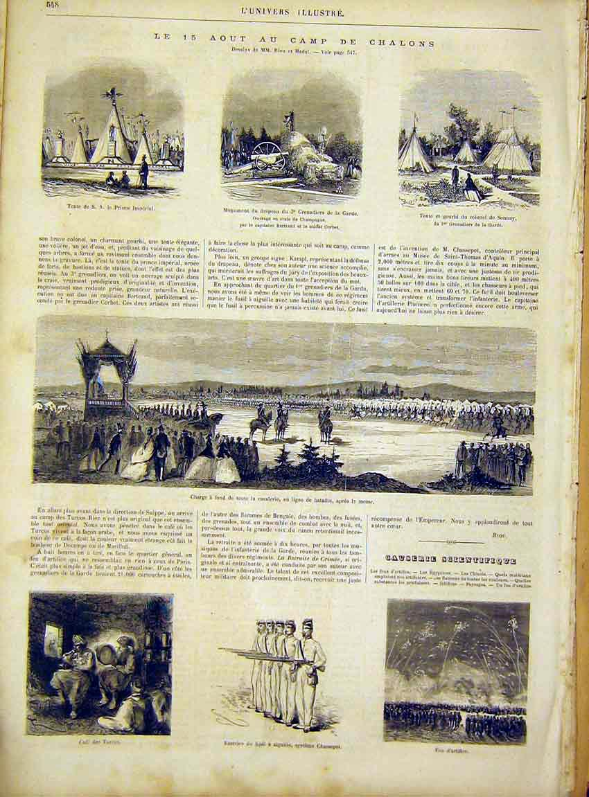 Print Chalons Troops Military Army French 1866 48Lun1 Old Original