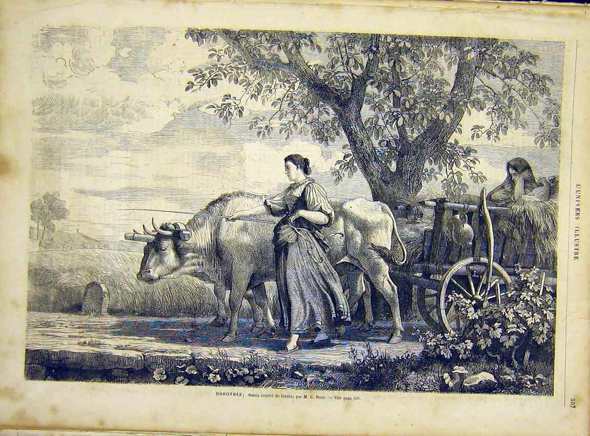 Print Dorothy Goethe Ox Cart Lady Oxen French 1866 57Lun1 Old Original