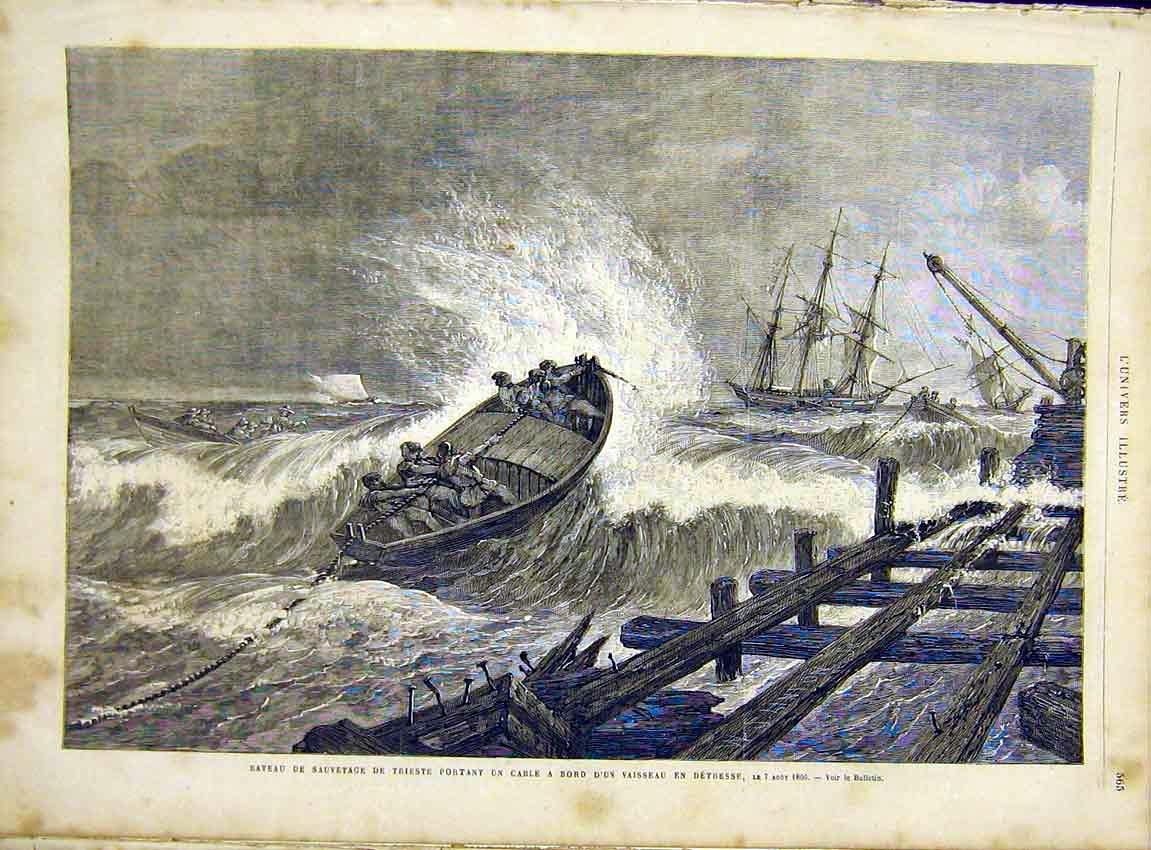Print Boat Wreck Sea Cable Ship French 1866 65Lun1 Old Original