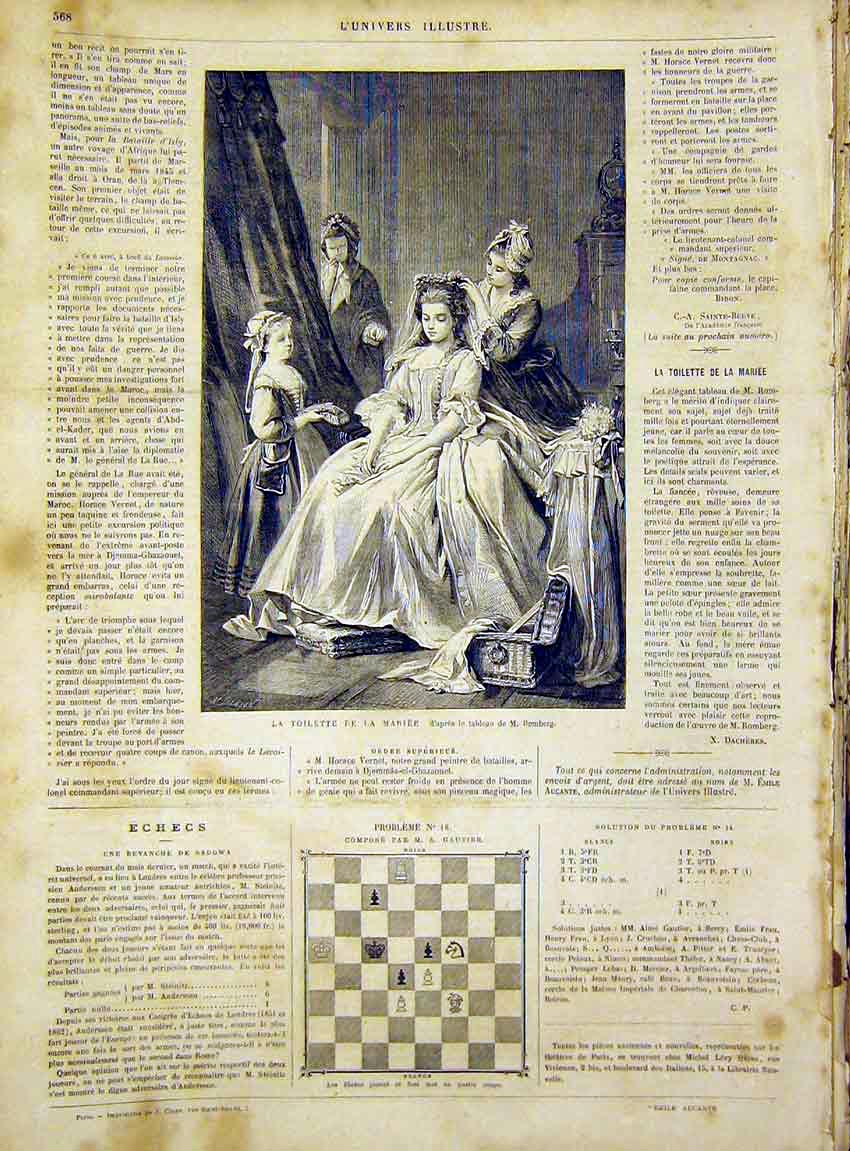 Print Marie Romberg Mariee Toilette French 1866 68Lun1 Old Original