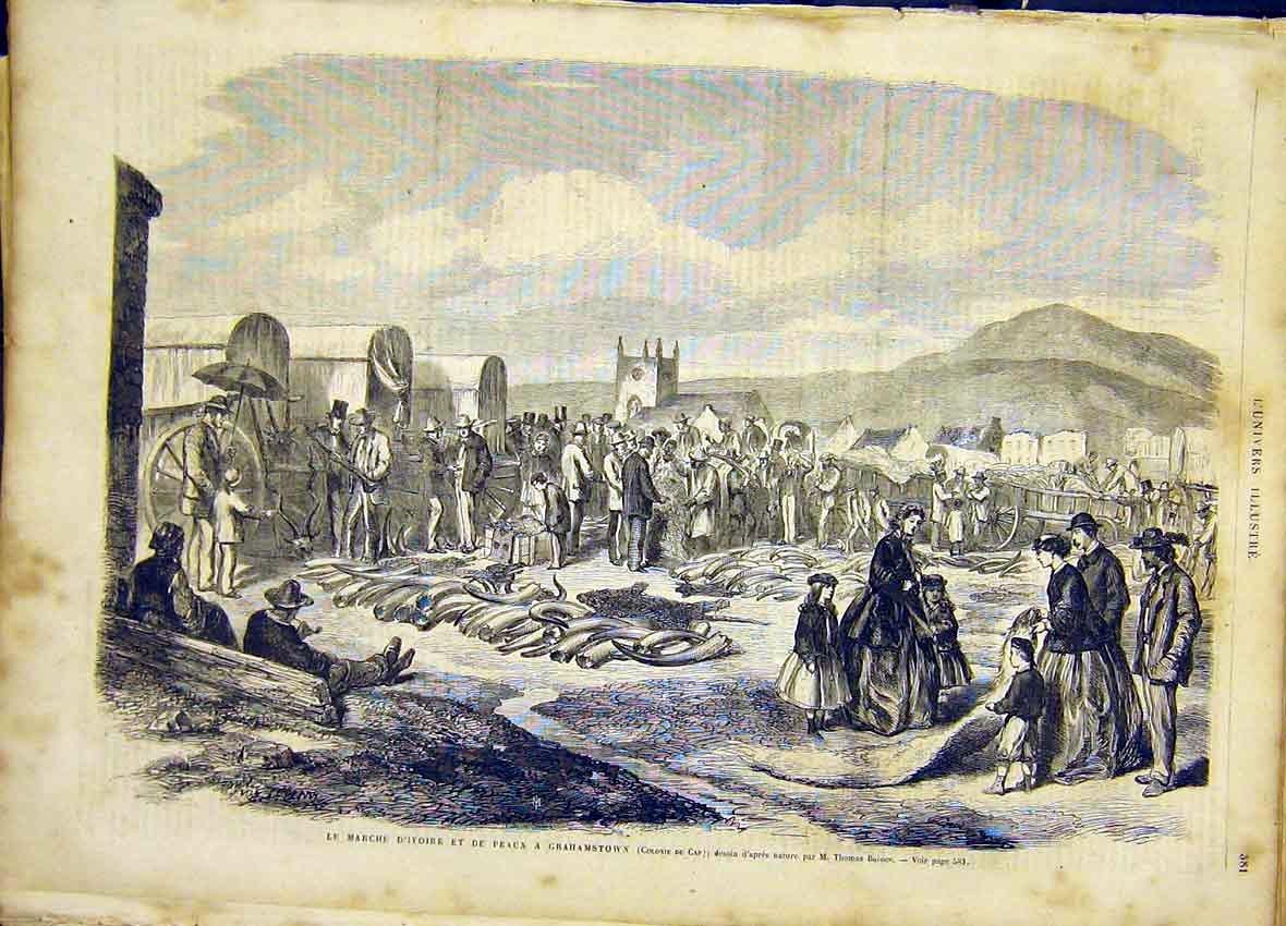 Print Grahamstown Africa Cape Ivory French 1866 81Lun1 Old Original