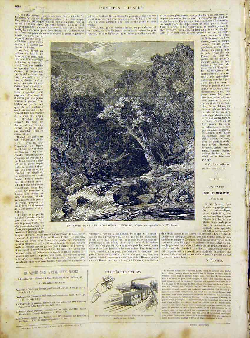 Print Mountain Stream Waterfall Switzerland French 1866 08Lun1 Old Original