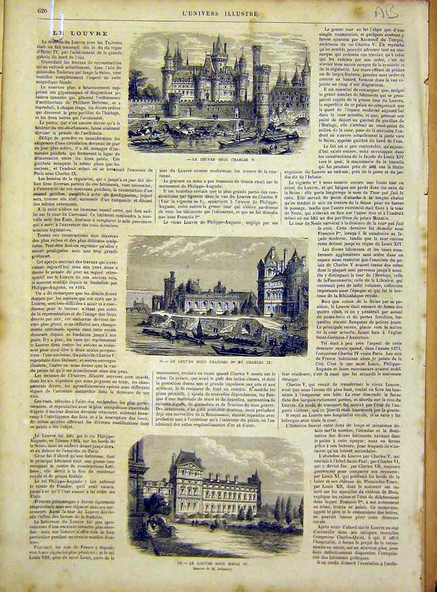 Print Louvre France Building Architecture French 1866 20Alun1 Old Original