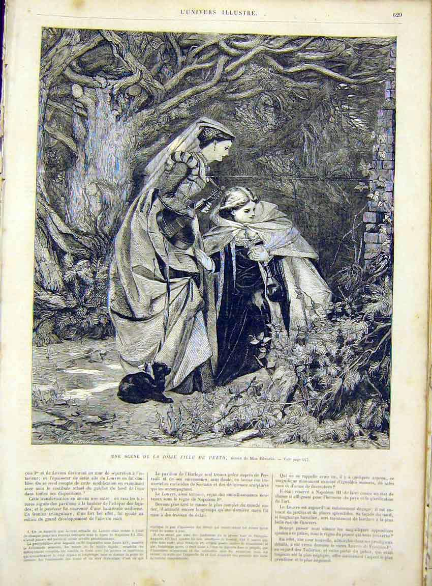 Print Perth Daughter Girl Edwards Fine Art French 1866 29Lun1 Old Original