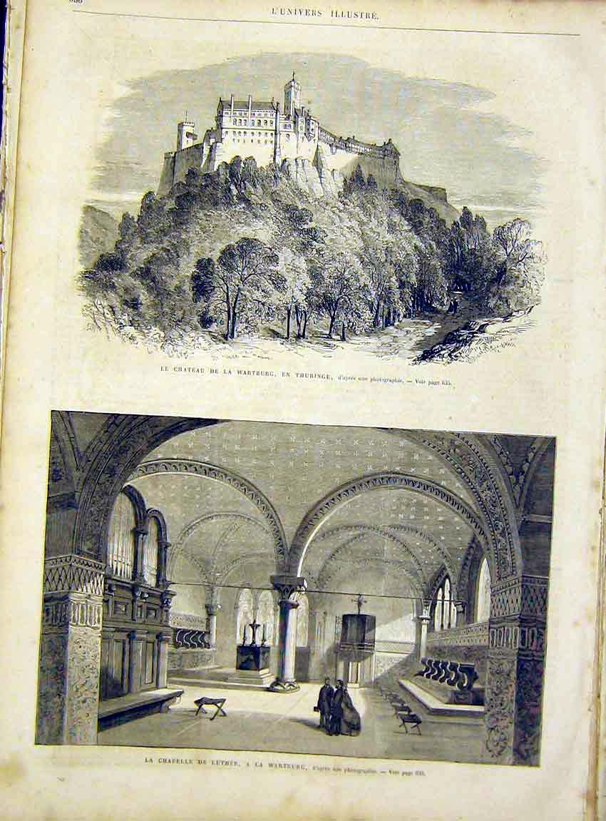 Print Castle Wartburg Chapel Luther French 1866 36Lun1 Old Original