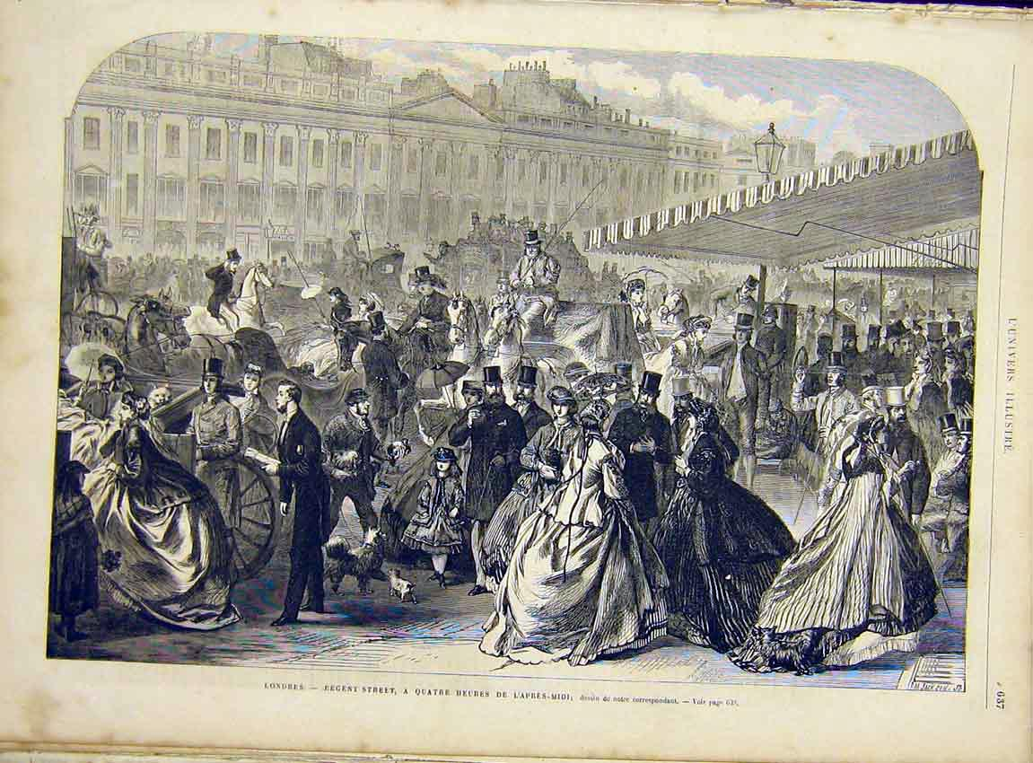 Print London Regent Street People French 1866 37Lun1 Old Original