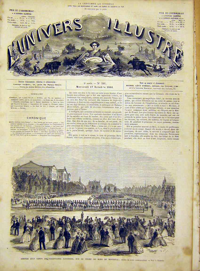 Print Military Volunteers Canadian Montreal French 1866 58Lun1 Old Original