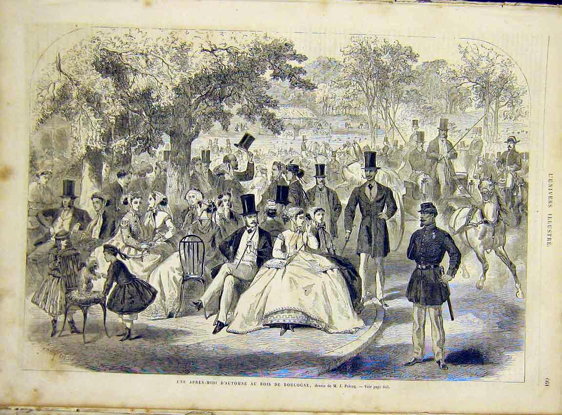 Print Boulogne Park Picnic Pelcoq People French 1866 64Lun1 Old Original