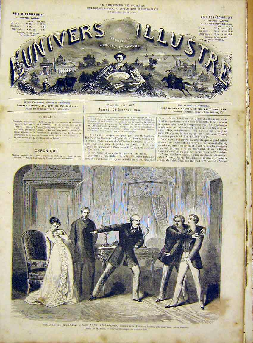 Print Theatre Gymnase Sardou Belin French 1866 66Lun1 Old Original