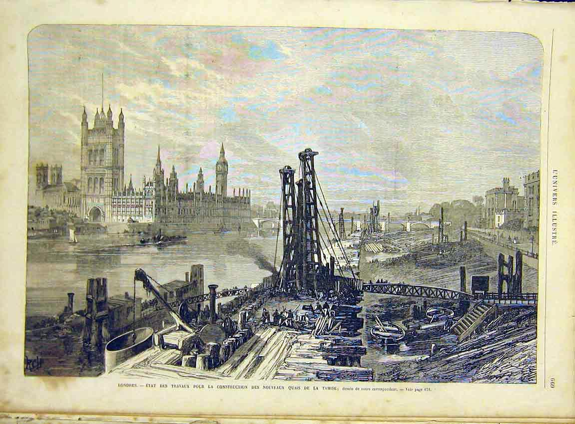 Print London Construction Tamise Quay Dock French 1866 69Lun1 Old Original