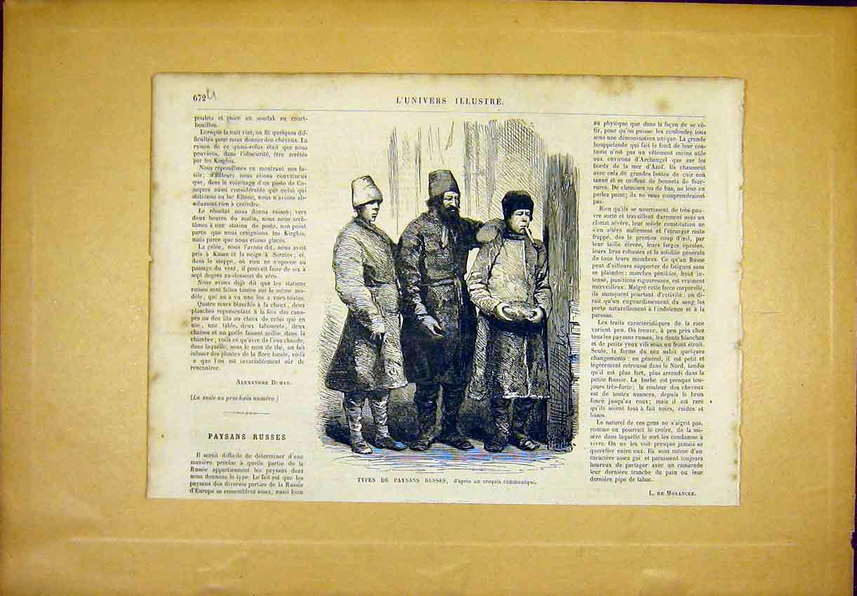 Print Russian People Peasants French 1866 72Ulun1 Old Original