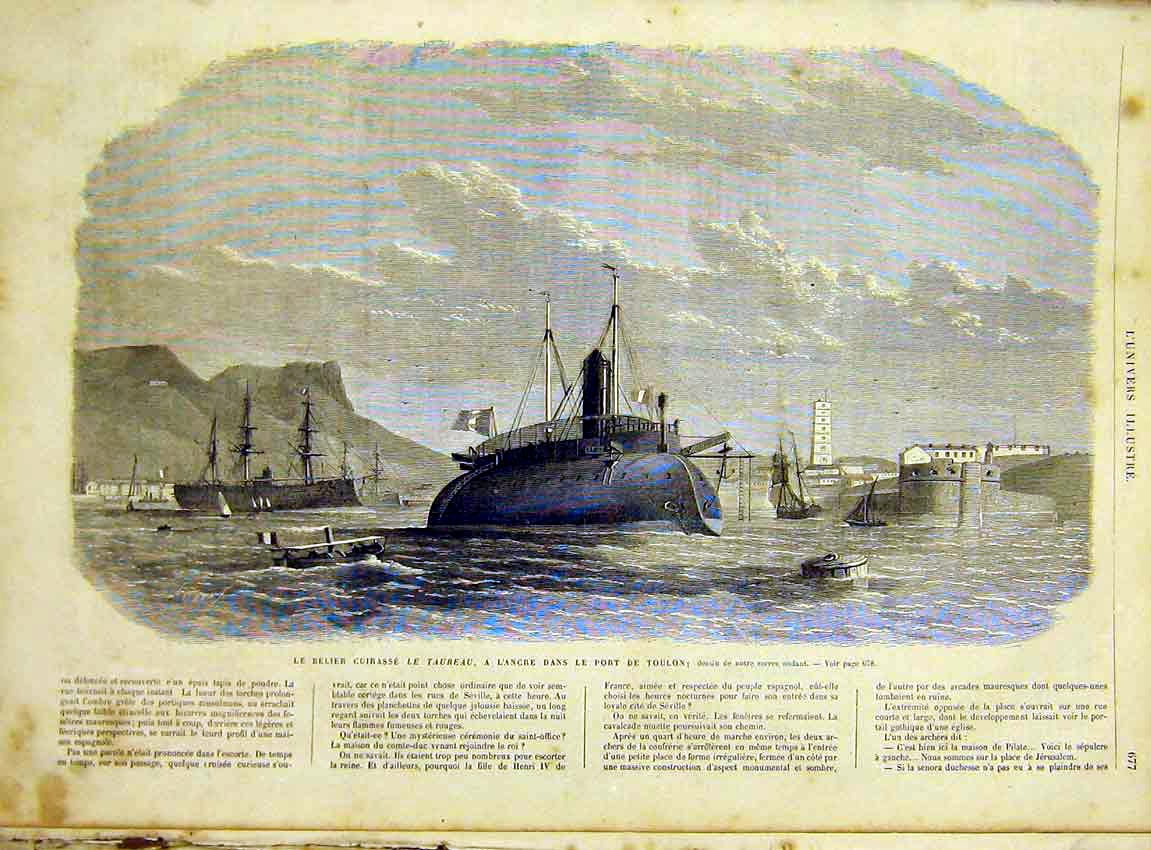 Print Taureau Toulon Submarine Boat French 1866 77Lun1 Old Original