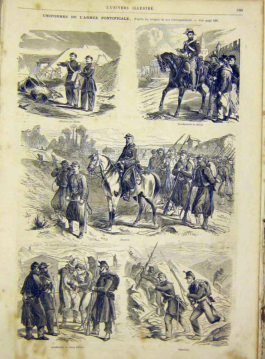 Print Uniforms Military Infantry Officer French 1866 85Lun1 Old Original