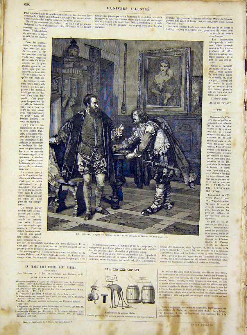 Print Charles Becker Berlin Bravo French 1866 Fine Art 88Lun1 Old Original