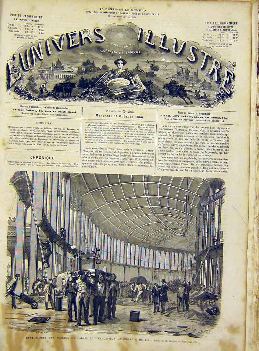 Print Palace Universal Exhibition Crepon French 1866 90Lun1 Old Original