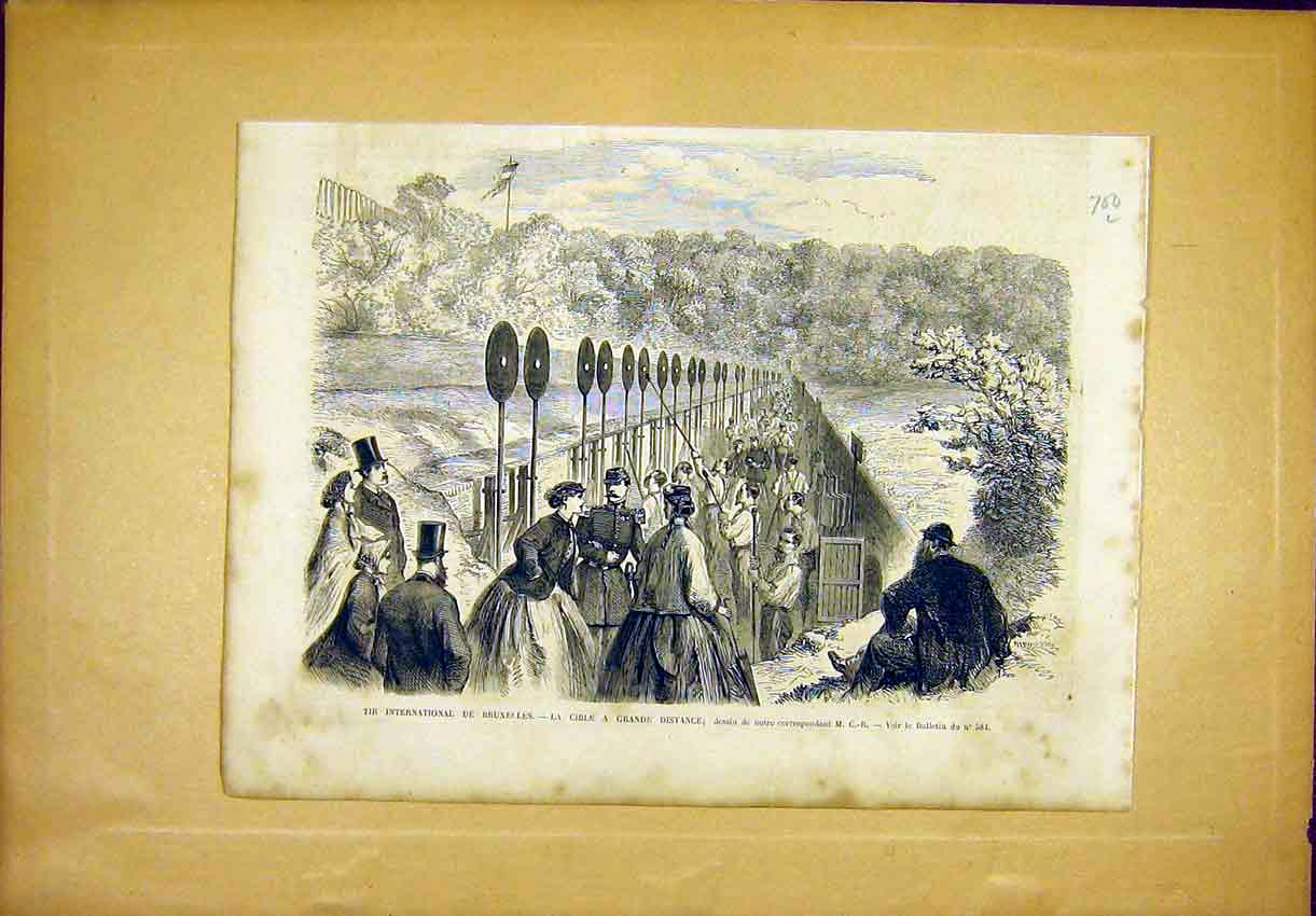 Print Brussels Cible International Sport French 1866 00Llun1 Old Original