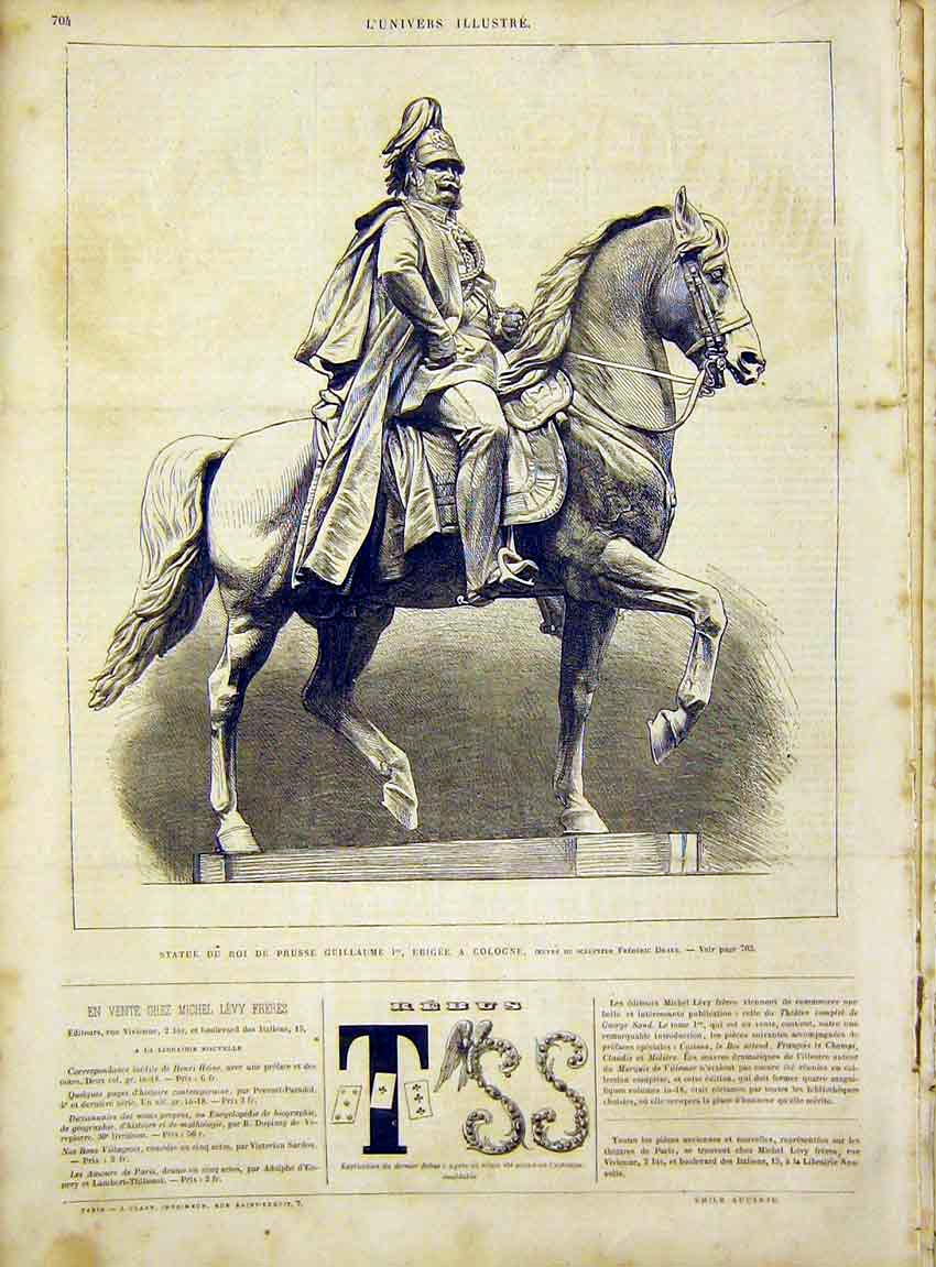 Print Statue King Prussia Cologne Drake French 1866 04Lun1 Old Original