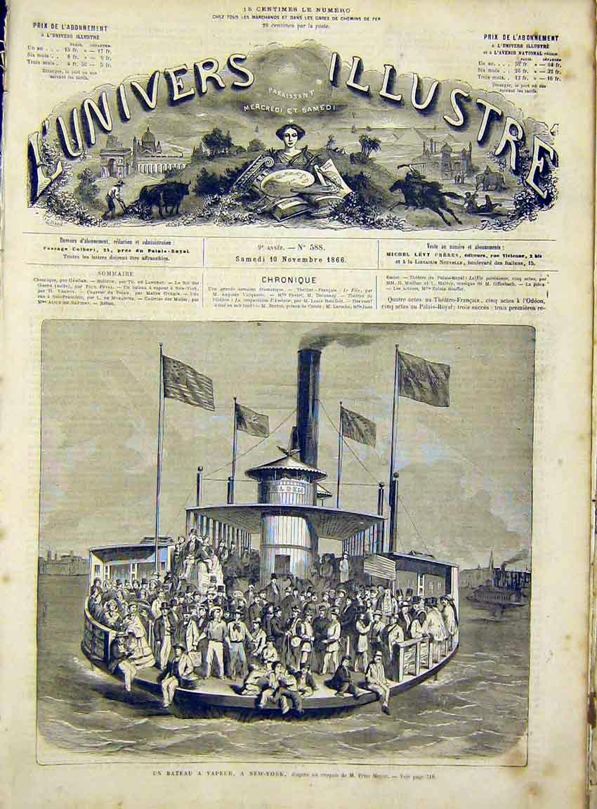 Print Boat Vapeur New York Meyer America French 1866 14Lun1 Old Original