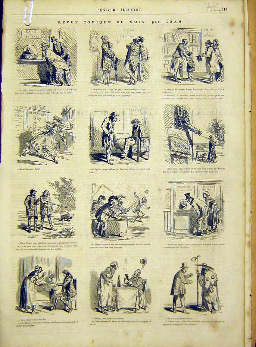 Print Comic Sketches Cham Paris France French 1866 17Alun1 Old Original