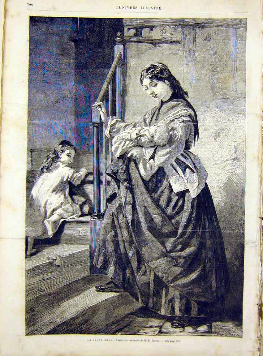 Print Barnes Mother Child Baby Fine Art French 1866 28Lun1 Old Original