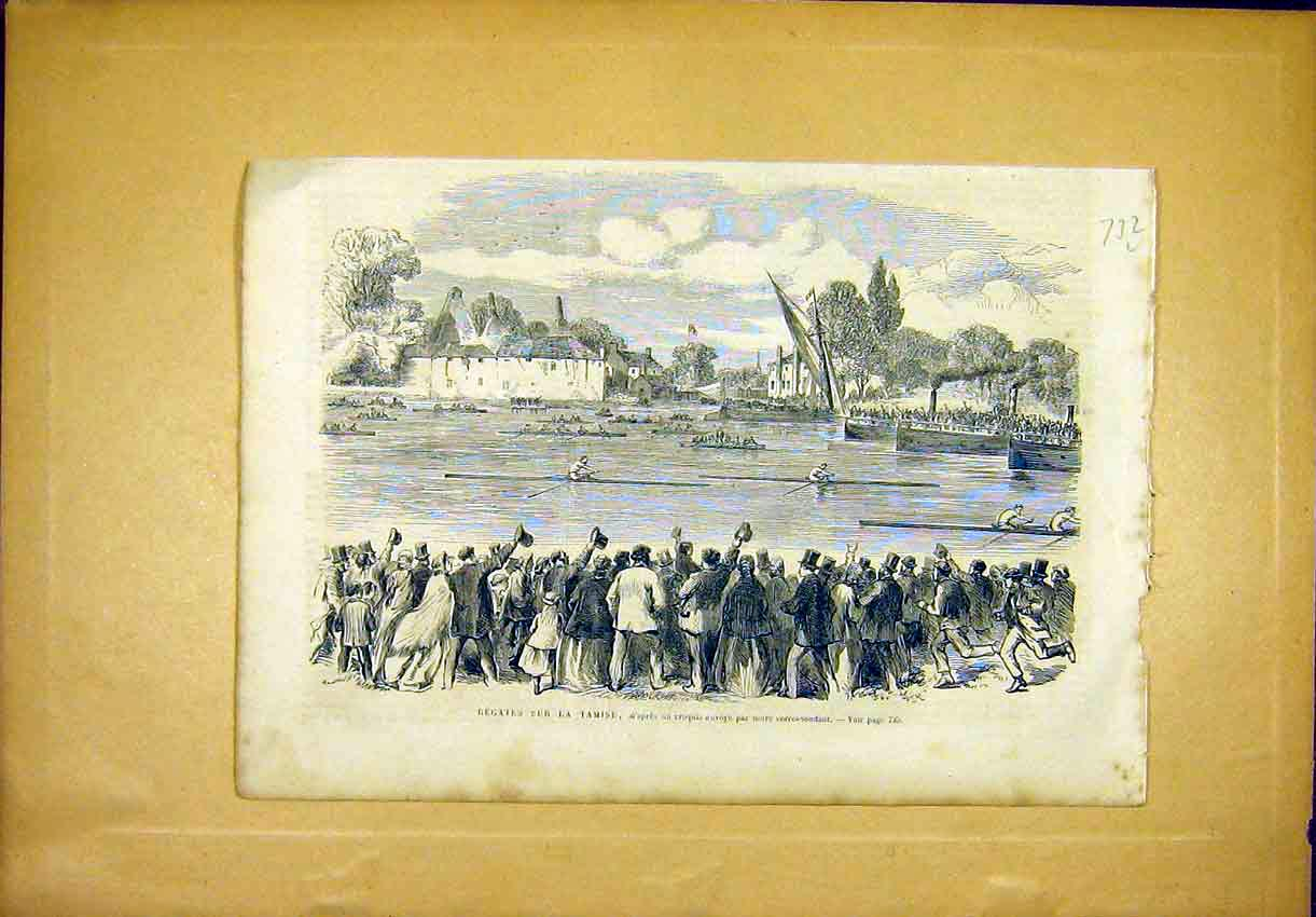 Print Regatta Tamise River Boats Crowd French 1866 32Llun1 Old Original