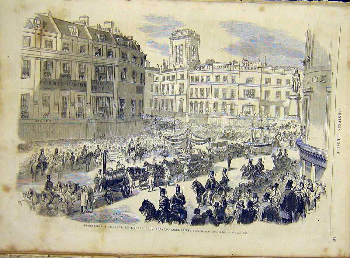 Print London Procession Lord Mayor French 1866 49Lun1 Old Original