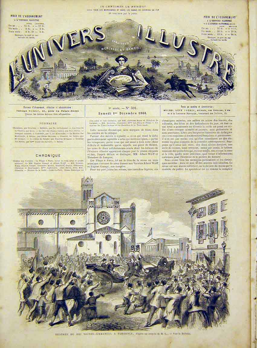 Print Victor-Emmanuel Florence Italy French 1866 62Lun1 Old Original