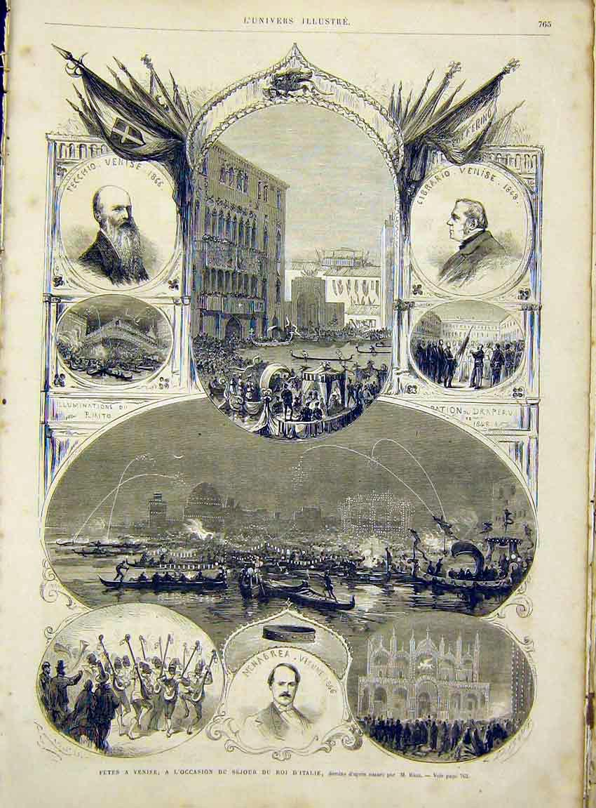 Print Fete Venice King Italy Riou French 1866 65Lun1 Old Original
