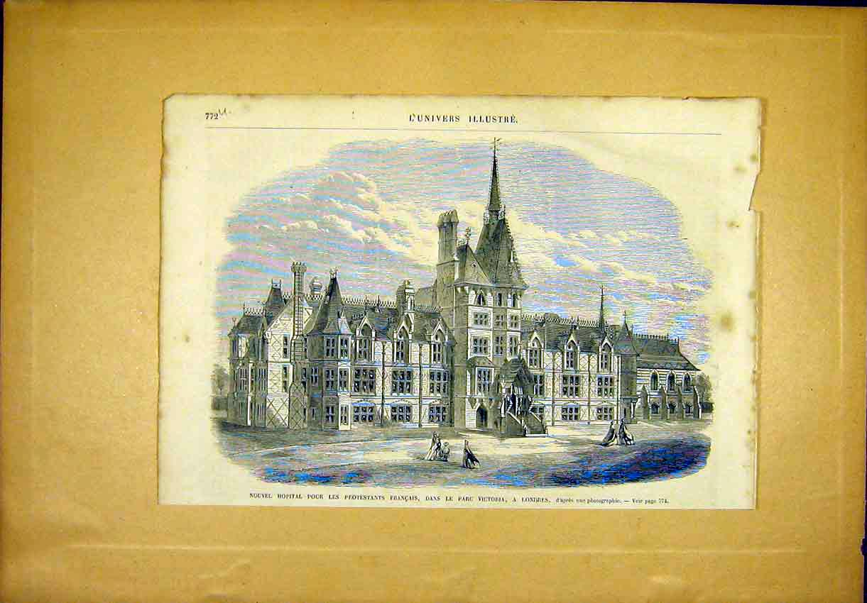 Print Hospital French Prostestants Victoria London 1866 72Ulun1 Old Original