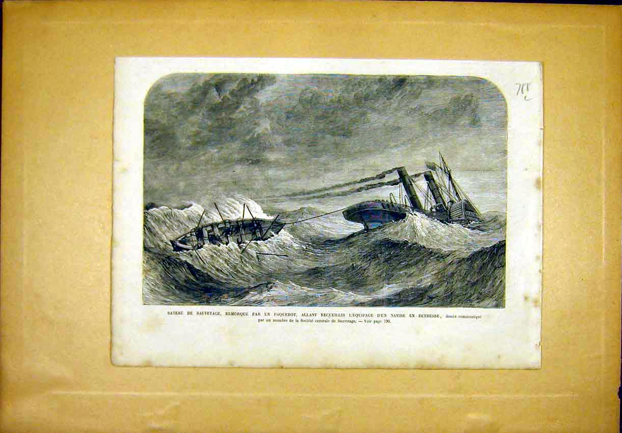 Print Boat Paquerot Navy Sea Wreck French 1866 88Llun1 Old Original