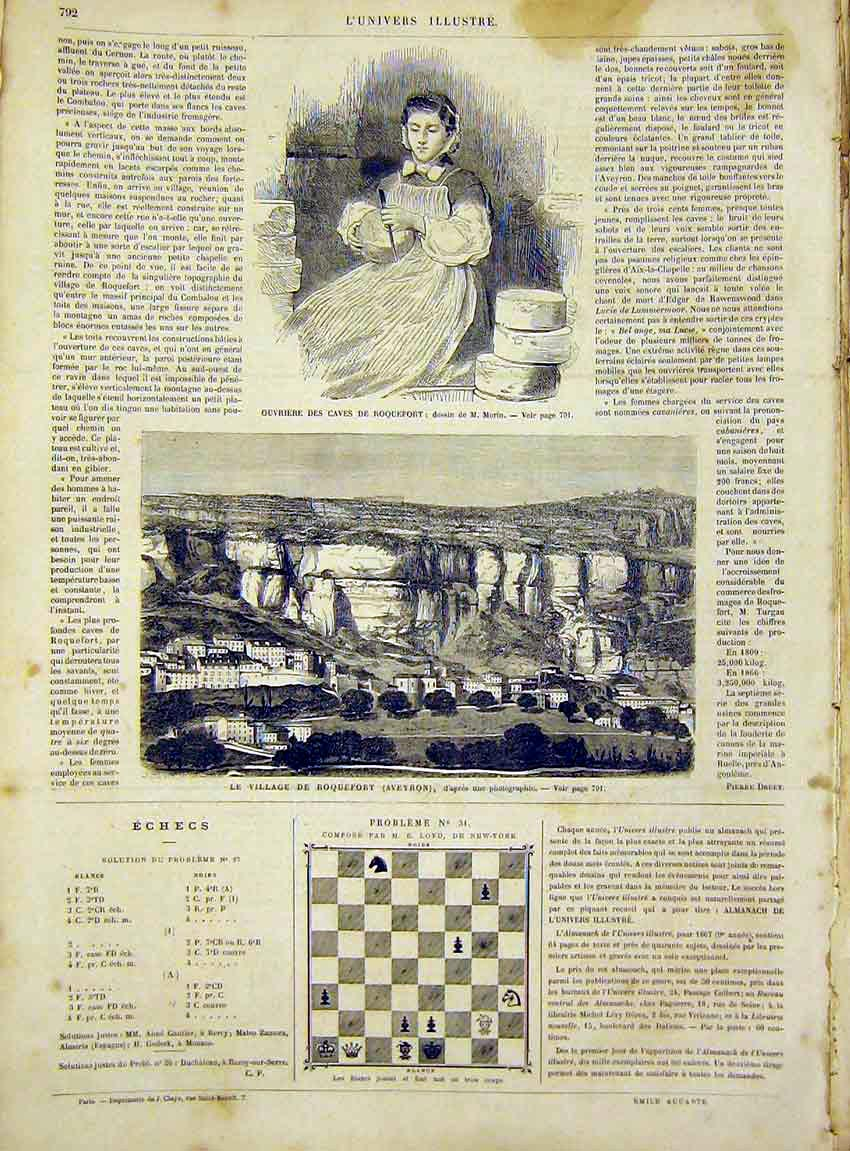 Print Roquefort Caves Morin Village Aveyron French 1866 92Lun1 Old Original