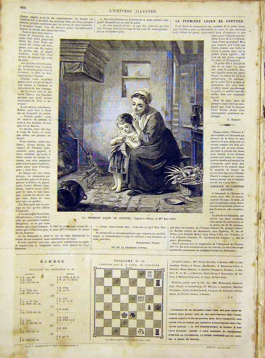 Print Mother Child Lesson Swift Portrait French 1866 08Lun1 Old Original