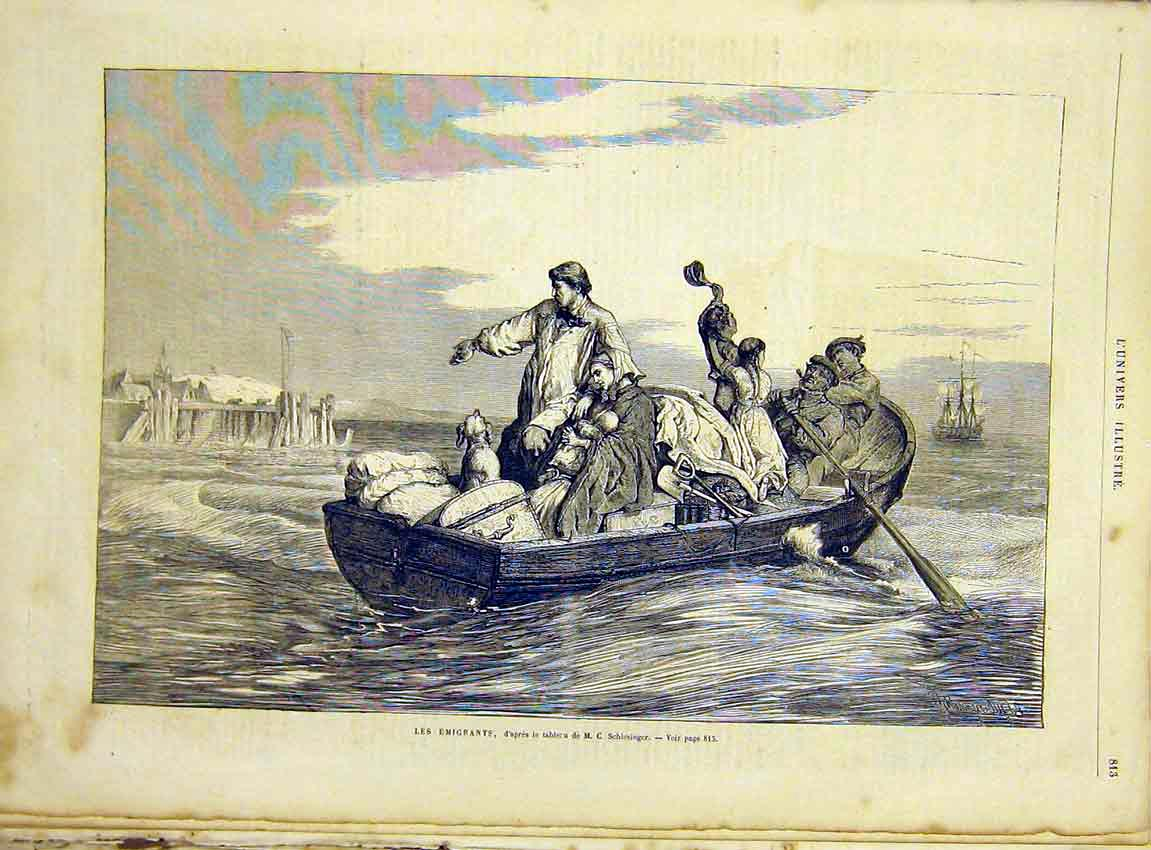 Print Emigrants Boat Sea Schlesinger French 1866 13Lun1 Old Original