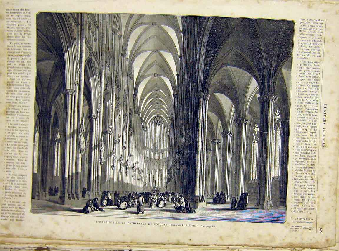 Print Cathedral Cologne France Building French 1866 29Lun1 Old Original