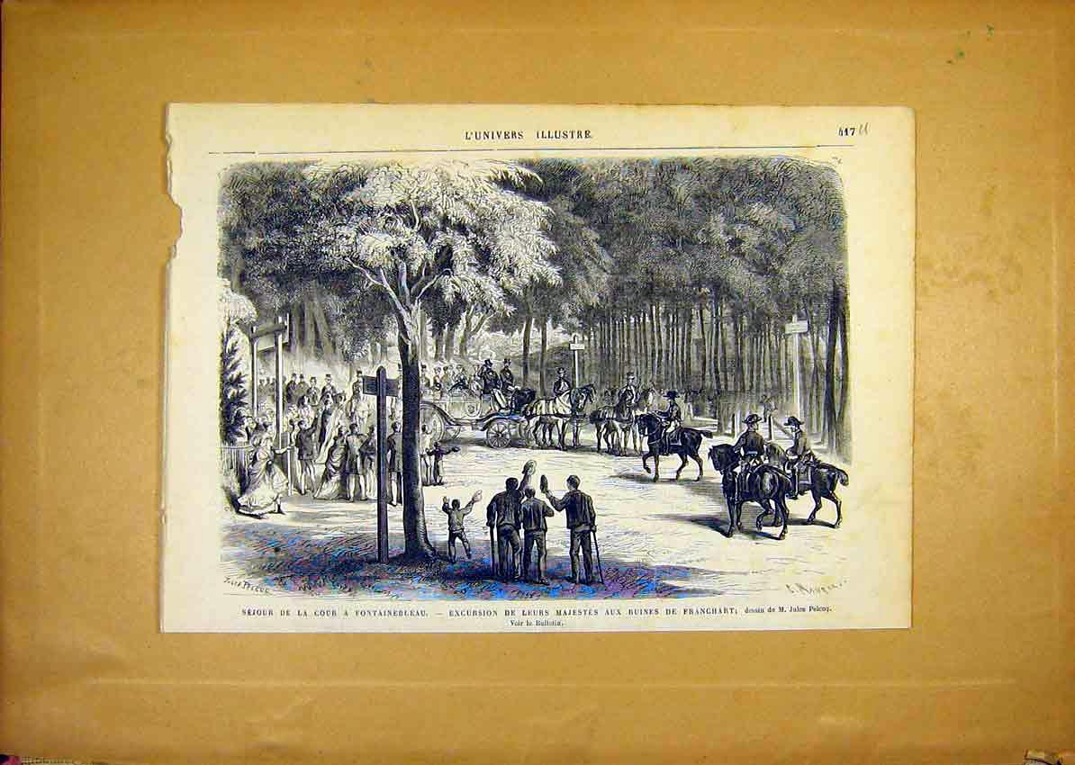 Print Fountainbleau Ruins Franchart Royal French 1868 17Ulun1 Old Original